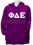 Phi Delta Epsilon Ladies Greek Letter Pullover Hoodie Sweatshirt, Purple