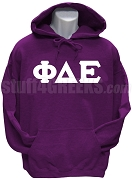 Phi Delta Epsilon Men's Greek Letter Pullover Hoodie Sweatshirt, Purple