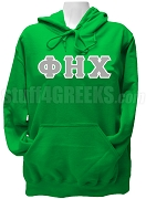 Phi Eta Chi Ladies Greek Letter Pullover Hoodie Sweatshirt, Kelly Green