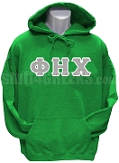 Phi Eta Chi Men's Greek Letter Pullover Hoodie Sweatshirt, Kelly Green