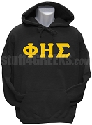 Phi Eta Sigma Men's Greek Letter Pullover Hoodie Sweatshirt, Black