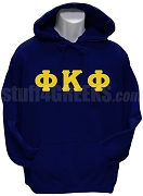 Phi Kappa Phi Men's Greek Letter Pullover Hoodie Sweatshirt, Navy Blue