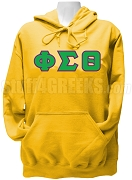 Phi Sigma Theta Ladies Greek Letter Pullover Hoodie Sweatshirt, Gold