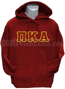 Pi Kappa Alpha Pullover Hoodie Sweatshirt with Greek Letters, Crimson