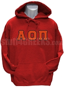 Alpha Omicron Pi Greek Letter Pullover Hoodie, Red