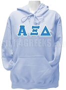 Alpha Xi Delta Greek Letter Pullover Hoodie Sweatshirt, Light Blue