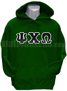 Psi Chi Omega Greek Letter Pullover Hoodie Sweatshirt, Forest Green