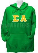 Sigma Alpha Letter Greek Pullover Hoodie Sweatshirt, Kelly Green