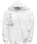 Sigma Omega Phi Full-Zip Hoodie Sweatshirt with Greek Letters, White