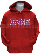 Sigma Phi Epsilon Greek Letter Pullover Hoodie Sweatshirt, Red
