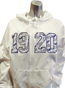 Zeta Phi Beta Full-Zip Hoodie Sweatshirt with Embellished 1920, White