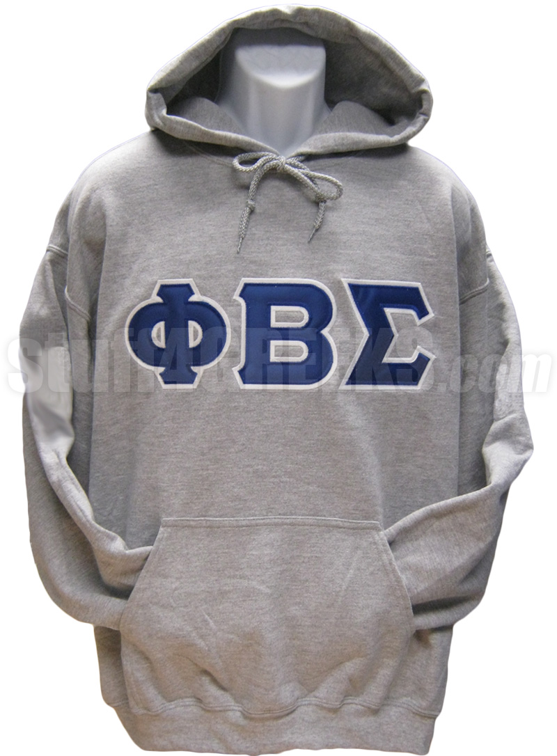 Phi Beta Sigma Basic Letter Pullover Sweatshirt Hoodie Gray