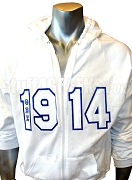 Phi Beta Sigma 1914 White Zip-Up Hoodie Sweatshirt