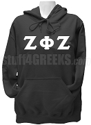Zeta Phi Zeta Ladies Greek Letter Pullover Hoodie Sweatshirt, Black