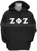 Zeta Phi Zeta Men's Greek Letter Pullover Hoodie Sweatshirt, Black