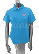 Theta Nu Xi Monarch Butterfly Polo Shirt, Columbia Blue