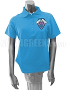 Theta Nu Xi Large Crest Polo, Columbia Blue
