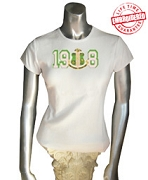 1908 with AKA Crest T-Shirt, White - EMBROIDERED with Lifetime Guarantee