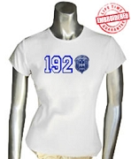 1920 with Zeta Crest T-Shirt, White - EMBROIDERED with Lifetime Guarantee