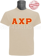 Alpha Chi Rho Greek Letter T-Shirt, Cream -  EMBROIDERED with Lifetime Guarantee