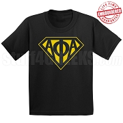 Alpha Phi Alpha Black T-Shirt with Greek Letters Inside Superman Shield - EMBROIDERED with Lifetime Guarantee
