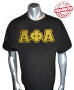 A-Phi-A Triple-Layered Letters Black T-Shirt - EMBROIDERED with Lifetime Guarantee