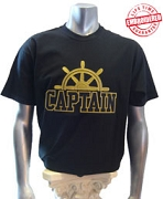 Black/Old Gold Captain T-Shirt - EMBROIDERED with Lifetime Guarantee