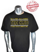 Black/Old Gold Tre Club (Generation 1) Black T-Shirt - EMBROIDERED with Lifetime Guarantee