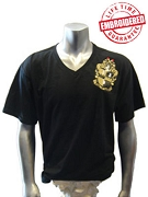 Alpha Crest V-Neck Black T-Shirt - EMBROIDERED with Lifetime Guarantee