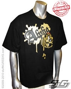 Alpha Metallic Vintage Black T-Shirt - EMBROIDERED with Lifetime Guarantee
