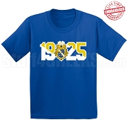 Alpha Phi Omega T-Shirt with Crest and Founding Year, Royal Blue - EMBROIDERED with Lifetime Guarantee