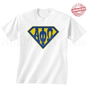 Alpha Phi Omega T-Shirt with Greek Letters Inside Superman Shield, White - EMBROIDERED with Lifetime Guarantee