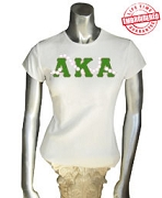 AKA Letters with 20 Pearls, White - EMBROIDERED with Lifetime Guarantee