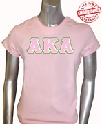 AKA Triple-Layered Letters T-Shirt, Pink - EMBROIDERED with Lifetime Guarantee