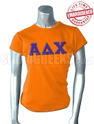 Alpha Delta Chi T-Shirt with Greek Letters, Orange - EMBROIDERED with Lifetime Guarantee