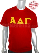 Alpha Delta Gamma T-Shirt with Letters, Red - EMBROIDERED with Lifetime Guarantee