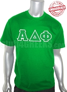 Alpha Delta Phi T-Shirt with Letters, Kelly Green - EMBROIDERED with Lifetime Guarantee