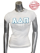 Alpha Delta Pi Greek Letter T-Shirt, White - EMBROIDERED with Lifetime Guarantee