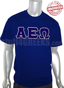 Alpha Epsilon Omega Greek Letter T-Shirt, Navy Blue - EMBROIDERED with Lifetime Guarantee