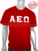 Alpha Epsilon Omega Greek Letter T-Shirt, Red - EMBROIDERED with Lifetime Guarantee