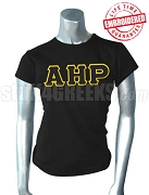 Alpha Eta Rho Ladies' T-Shirt with Greek Letters, Black - EMBROIDERED with Lifetime Guarantee