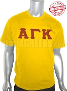 Alpha Gamma Kappa Greek Letter T-Shirt, Gold - EMBROIDERED with Lifetime Guarantee