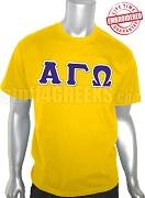 Alpha Gamma Omega Greek Letter T-Shirt, Gold - EMBROIDERED with Lifetime Guarantee