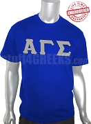 Alpha Gamma Sigma Greek Letter T-Shirt, Royal Blue - EMBROIDERED with Lifetime Guarantee