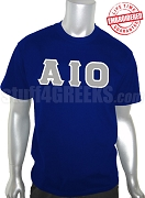 Alpha Iota Omicron Greek Letter T-Shirt, Navy Blue - EMBROIDERED with Lifetime Guarantee