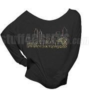 Alpha Kappa Alpha Bling Atlanta Long Sleeve Shoulder Shirt, Black (BB)