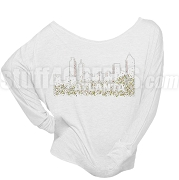 Atlanta Pink & Green Bling Long Sleeve Shoulder Shirt, White (BB)