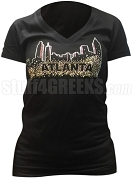 Alpha Kappa Alpha Bling Atlanta V-Neck Shirt, Black (AB)