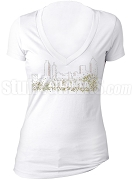 Alpha Kappa Alpha Bling Atlanta V-Neck Shirt, White (AB)