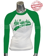 Alpha Kappa Alpha For Life Raglan T-Shirt, White/Kelly Green - EMBROIDERED with Lifetime Guarantee